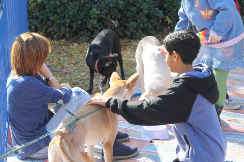 ילדים בפסטיבל עם הכלב שלהם